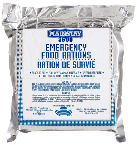 Emergency Preparedness Food Ration, Mainstay 3600 calorie bar by SOS Food Lab