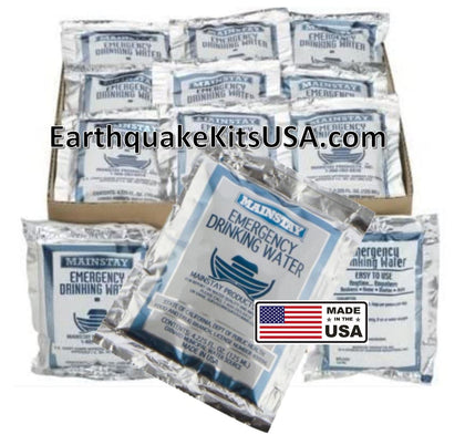 Mainstay Emergency Water 30 pack by SOS Food Lab for emergency kits, earthquake kits, first aid kits, disaster preparedness, office kits, school emergency kits, hiking, camping, or hunting.