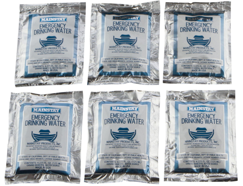 Emergency Water Pack -3 Day Survival Rations (6x4.2oz Pouches) 5 Year Shelf Life USCG Approved