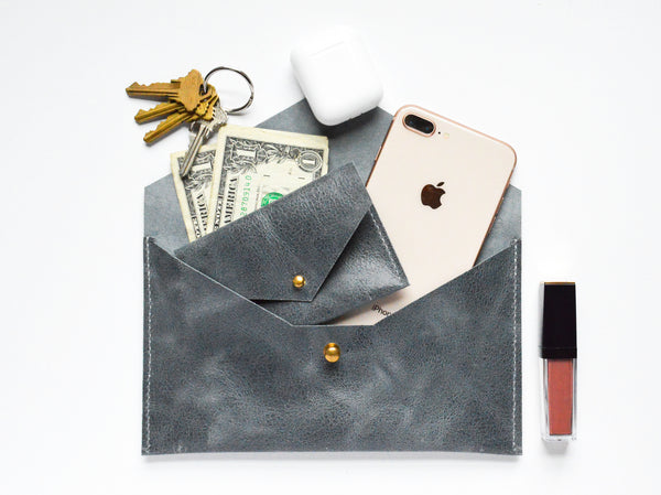Slate Blue Leather Envelope Clutch with Card Holder, Phone, Keys and Money
