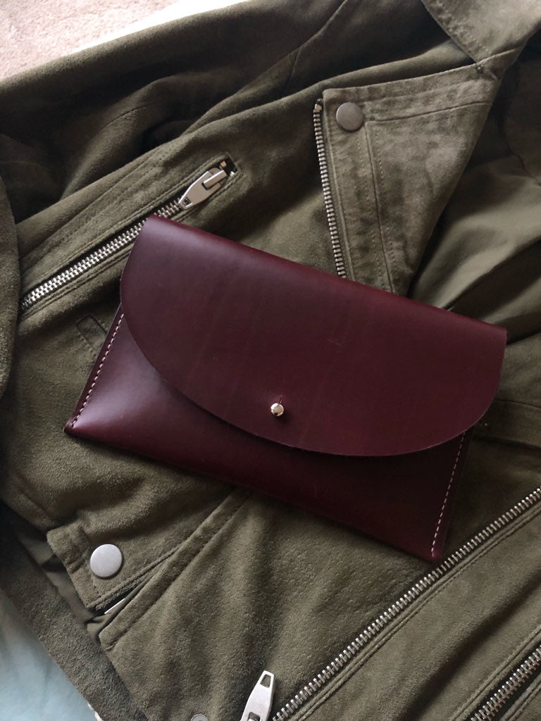 Bordeaux Leather Half Moon Clutch and Olive Suede Jacket