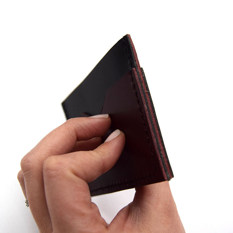 Slim Leather Card Holder in Hand