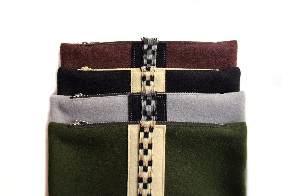 Wool Check Pouches in All Color Options