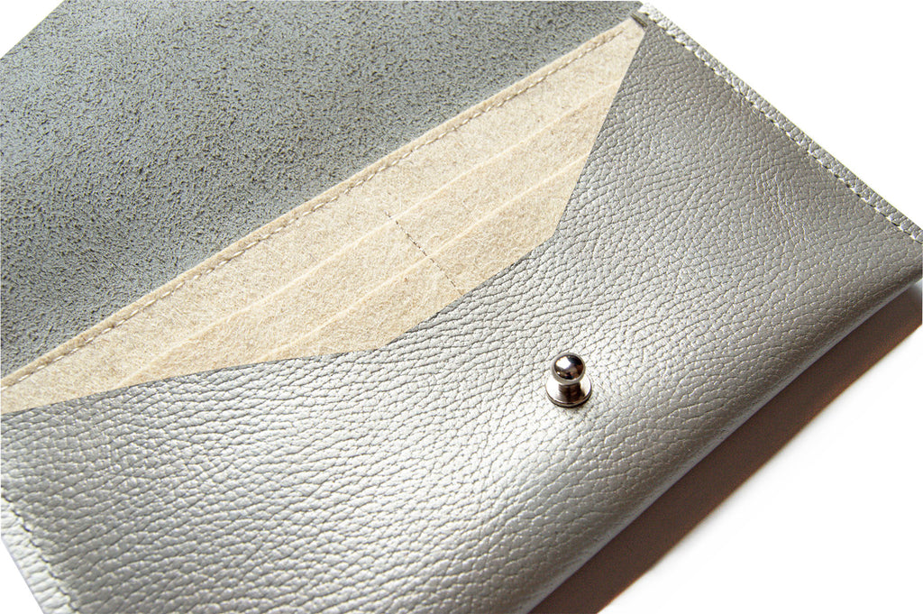 Close Up of Wool Interior of Metallic Leather Clutch Wallet