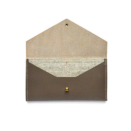 Taupe and Beige Leather Clutch Wallet Interior
