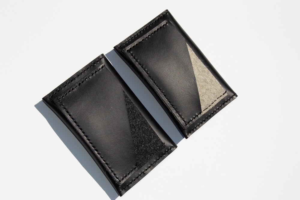 Back view of black and charcoal gray and black and tan geometric card holders.