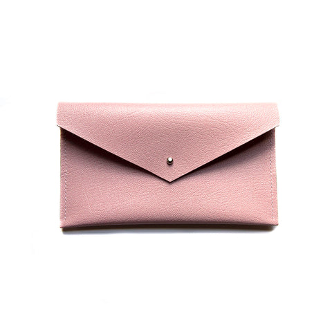 Pink Leather Envelope Clutch