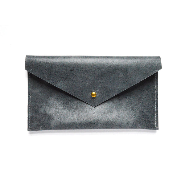 Front of Slate Blue Leather Envelope Clutch