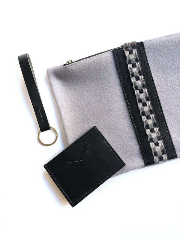 Ice Wool Check Pouch with Leather Card Holder and Key Fob