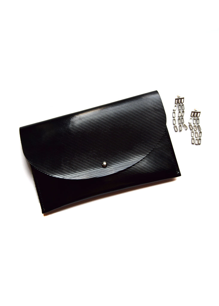 Embossed Black Leather Half Moon Clutch