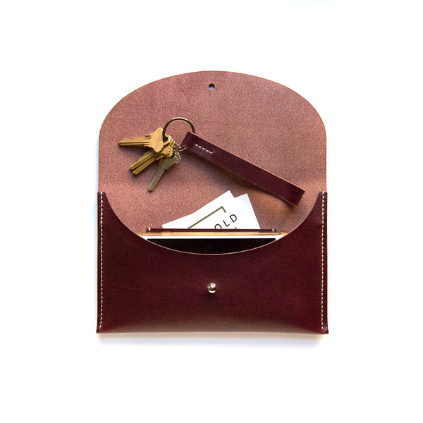 Bordeaux Leather Clutch and Key Fob