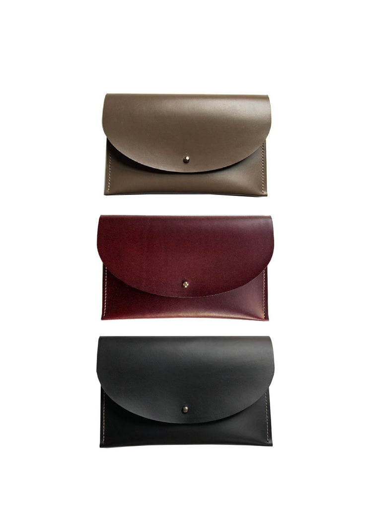 Italian Leather Half Moon Clutches in Black, Bordeaux and Taupe
