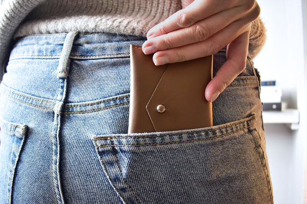 Taupe Geometric Leather Card Holder in Jeans Pocket
