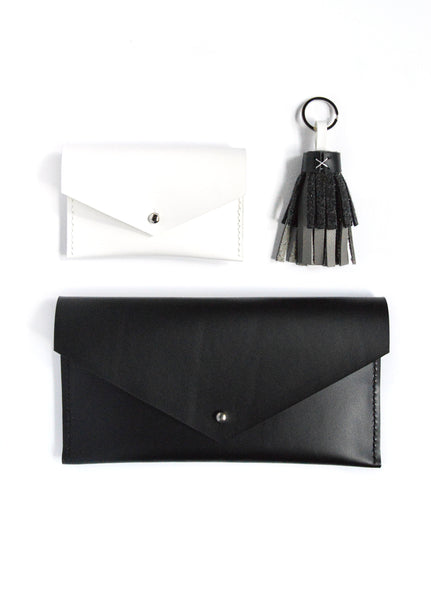 Leather Goods Black, White, and Gray Set