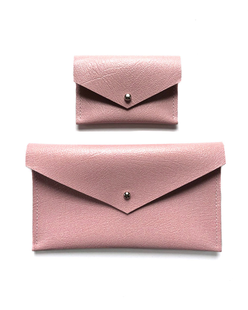 Pink Leather Envelope Clutch and Card Holder