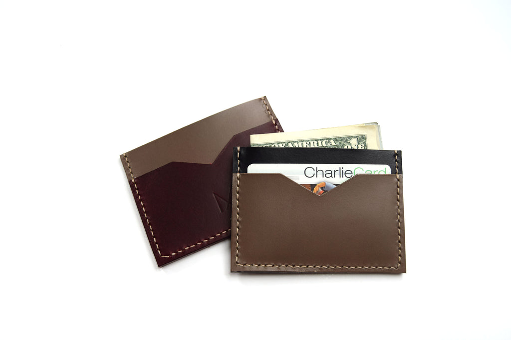 Taupe Slim Leather Card Holders