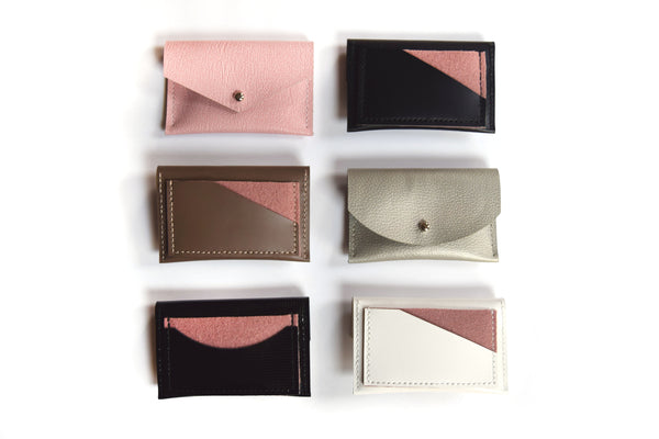 Leather card holders with pink accents
