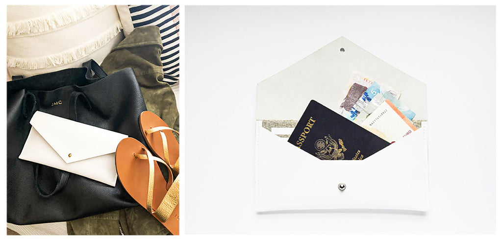White Leather Clutch Wallet Styled for Travel