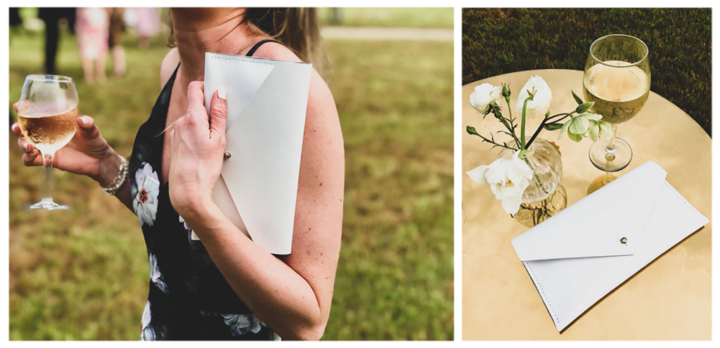 White Leather Clutch Wallet Dressed Up for a Wedding