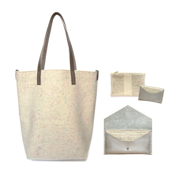Maragold Designs Confetti Wool Shopper with Pearl Accessories