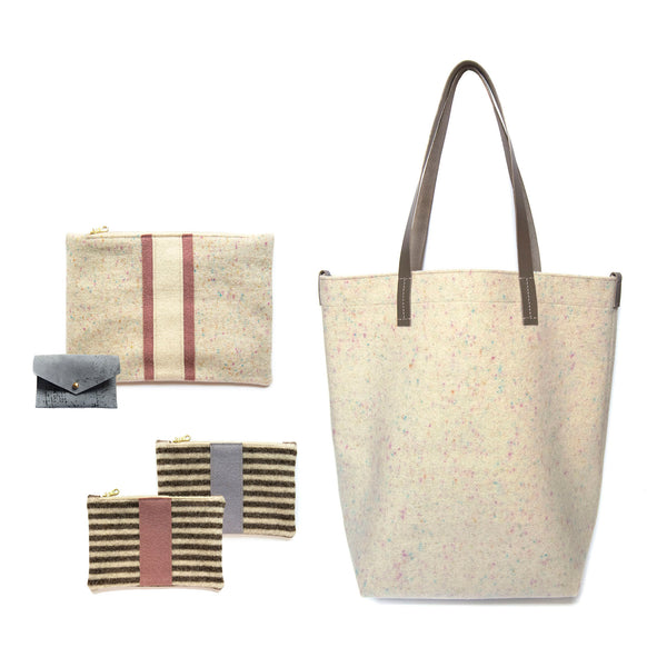 Maragold Designs Confetti Wool Shopper with Mixed Pattern Pouches
