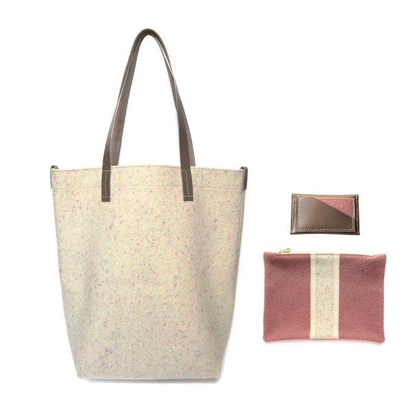 Maragold Designs Confetti Wool Shopper with Wool Pouch and Leather Card Holder