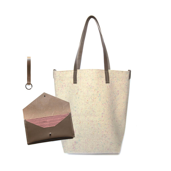 Maragold Designs Confetti Wool Shopper with Taupe Clutch Wallet and Key Fob