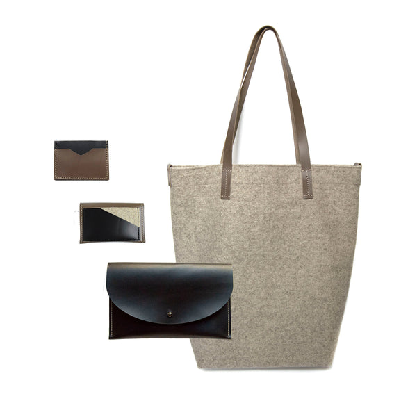 Maragold Designs Wheat Wool Shopper with Taupe and Black Leather Accessories