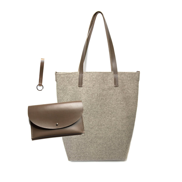 Maragold Designs Wheat Wool Shopper with Taupe Leather Clutch and Key Fob