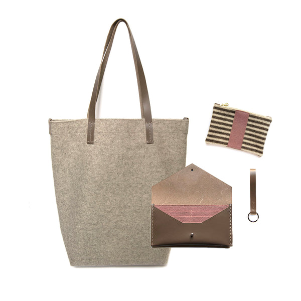 Maragold Designs Wheat Wool Shopper with Taupe and Pink Accessories