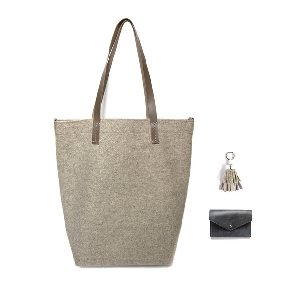 Wheat Wool Shopper with Slate Blue Leather Card Holder and Leather Tassel Keychain