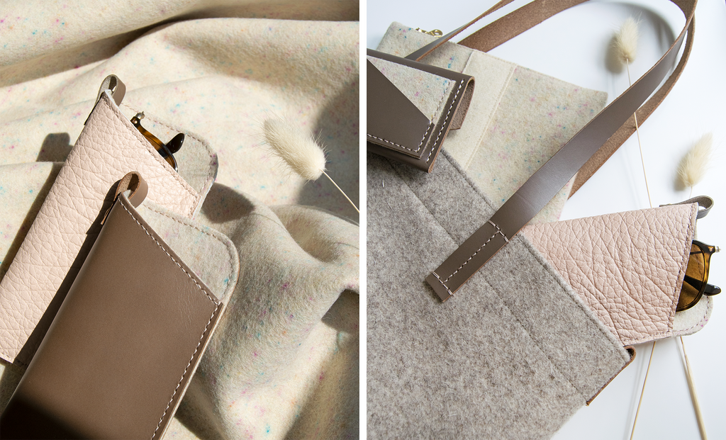Blush and Taupe Leather and Confetti Wool Accessories