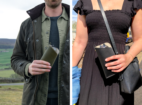 Image of man holding an olive green leather sunglasses sleeve on left and image of woman in black dress holding a black leather sunglasses sleeve on the right.