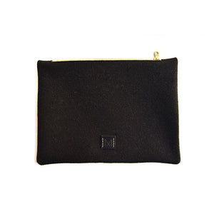 Wool Zip Pouch in Classic Black