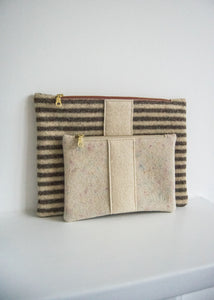 Wool Zip Pouch in Brown Stripe