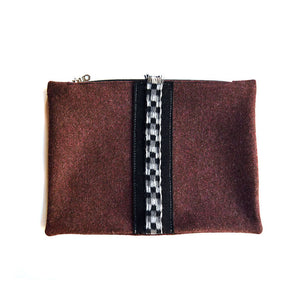 Wool Zip Pouch in Cherry