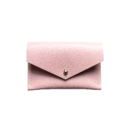 Front of pink saffiano leather envelope card holder