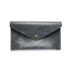 Front of slate blue leather envelope pouch