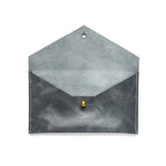 Load image into Gallery viewer, Interior of slate blue leather envelope pouch