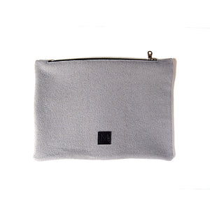Wool Zip Pouch in Ice Blue
