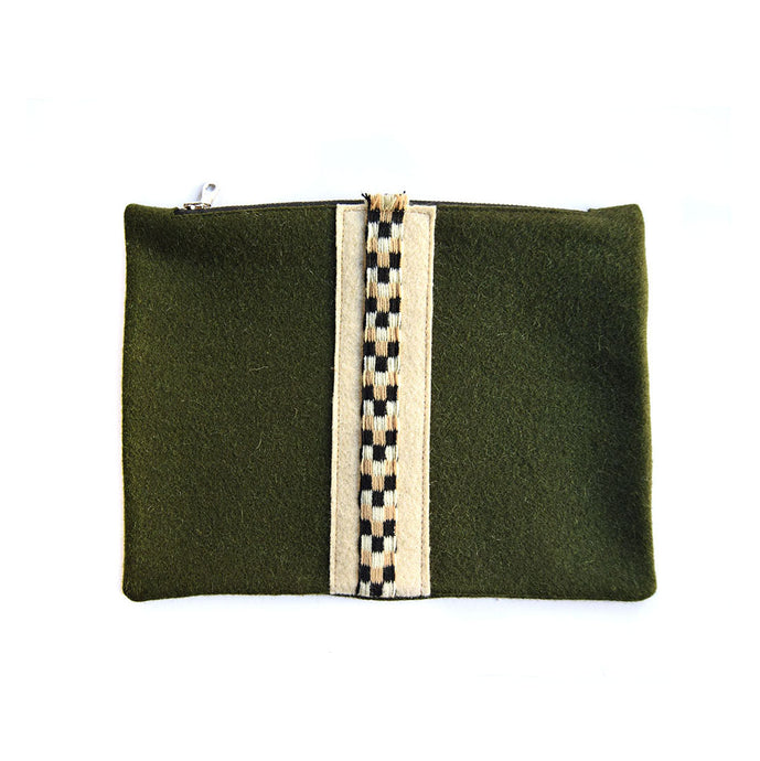 Wool Zip Pouch in Army Green