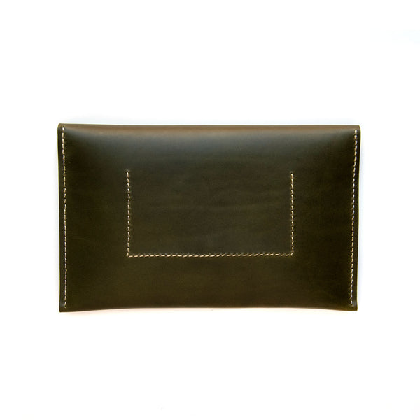 Leather Half Moon Clutch in Olive