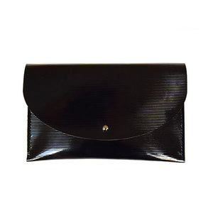 Half Moon Clutch in Embossed Black
