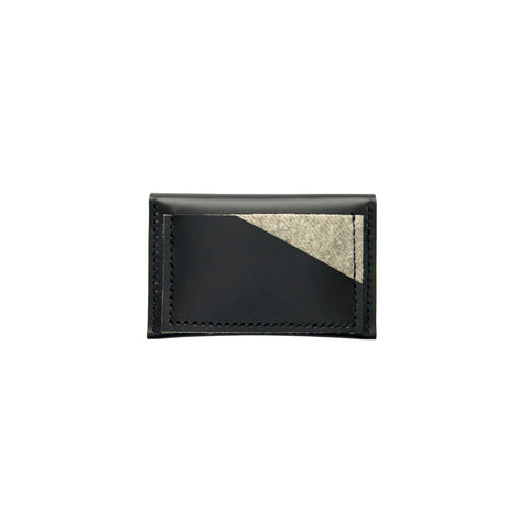Geometric Leather Card Holder in Black