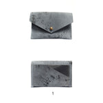 Load image into Gallery viewer, Geometric Leather Card Holder in Blue Splatter