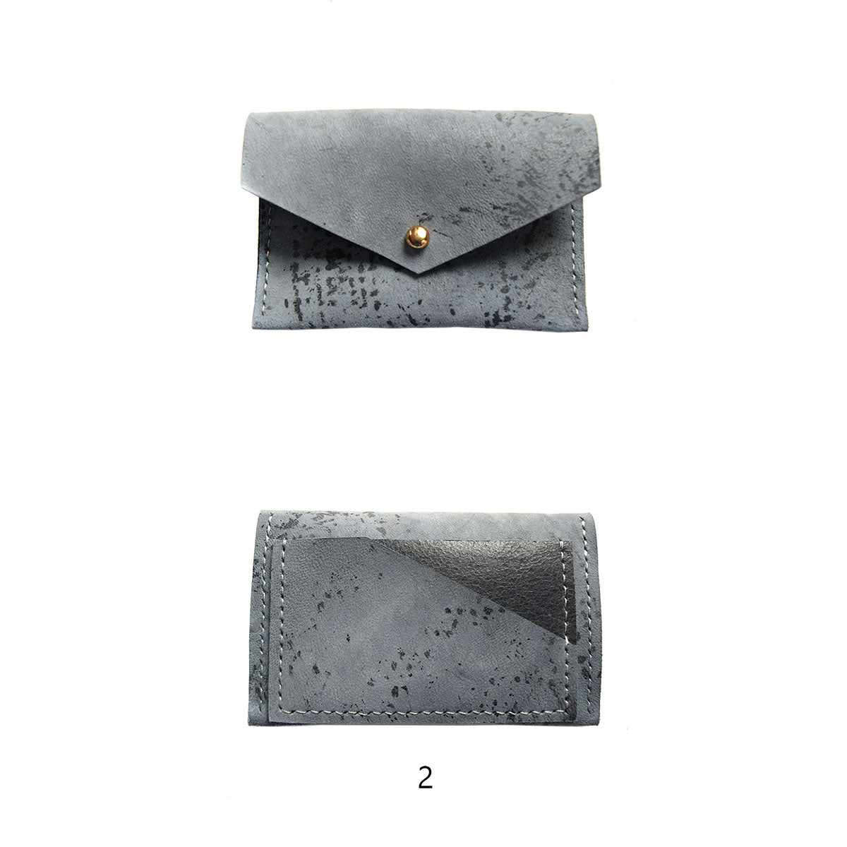 Geometric Leather Card Holder in Blue Splatter