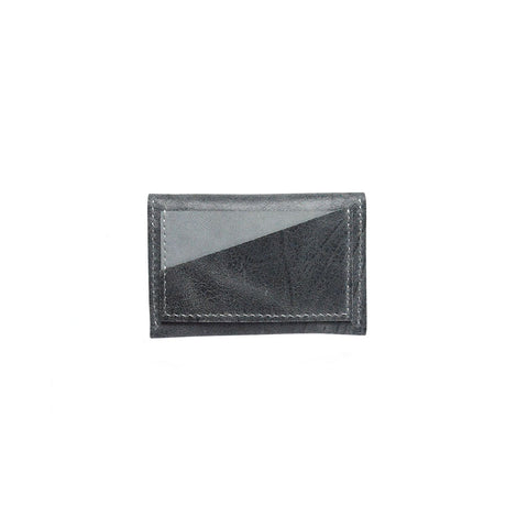 Geometric Leather Card Holder in Slate Blue