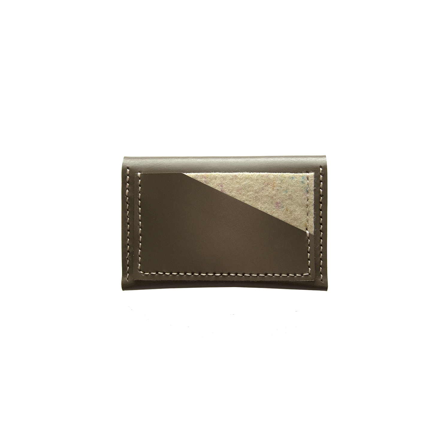 Geometric Leather Card Holder in Taupe