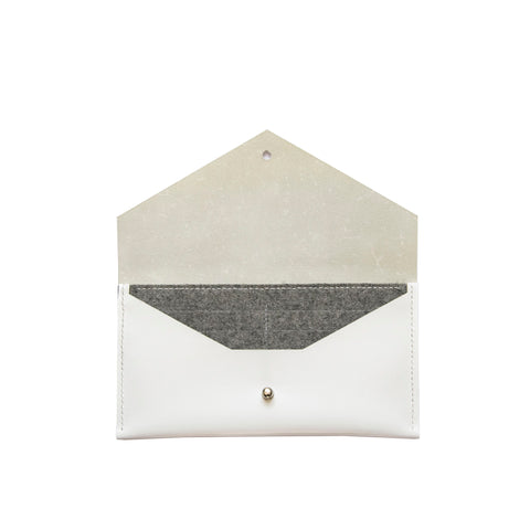 Clutch Wallet in White & Gray