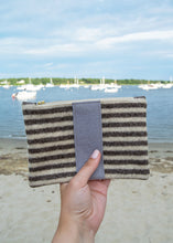 Load image into Gallery viewer, Small Wool Zip Pouch in Brown Stripe